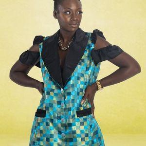 Green/blue checkered dress w/ruffled sleeves